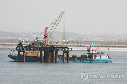 组图 朝中举行新鸭绿江大桥奠基仪式图片