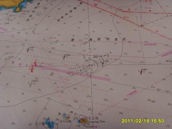 中版海图,图为青岛港的进港图